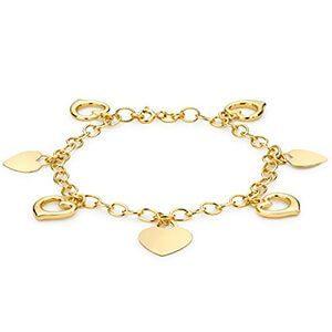 pulseras de oro en corazones de 24 quilates