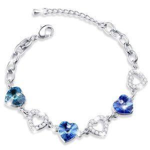 pulsera de oro blanco con cristales preciosos y diamantes
